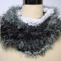 Women's / teenager's hand knitted freestyle infinity cowl / scarf / neckwarmer.