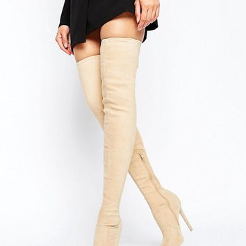 ASOS KAMBER Stretch Over The Knee Boots at asos.com
