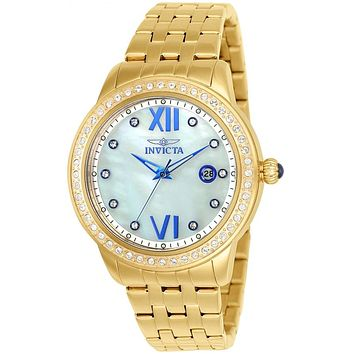 INVICTA Angel Womens 48 Crystal Watch - Gold-Tone - Mother of Pearl Dial - 100m