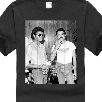 Michael Jackson & Freddie Mercury 142 Queen Pop Lgbt 2018 Hipster  Print Interesting Create Shirts Harajuku Tshirt