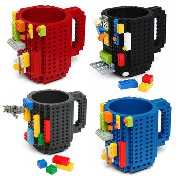 1 Piece Build a Brick Mug Building Blocks Coffee Cups Frozen Coffee Mug DIY Block Puzzle Mug 12oz 350 ml Christmas Gift