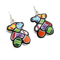 Autism Teddy Bear or Colorful Bear Dangle Earrings . NEW
