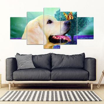 Golden Retriever 5 Piece Framed Canvas- Free Shipping