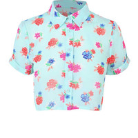 Multi Crop Floral Shirt at Fashion Union
