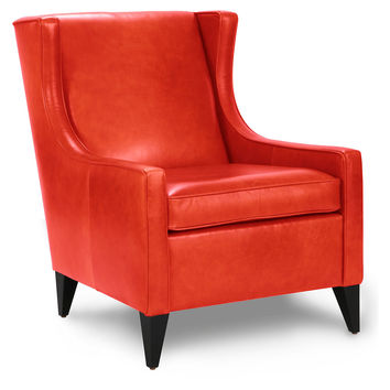 Artemis Leather Chair, Papaya, Wingbacks