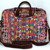 Free shipping - Vintage Jaipur Laptop Bag with Antique Thread Embroidery and Mirror-work