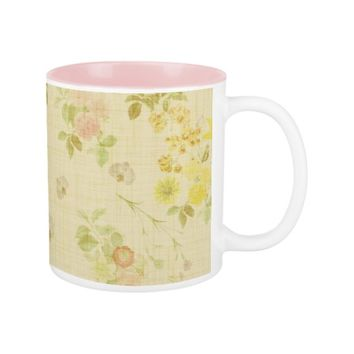 Floral Vintage Roses on Linen Two-Tone Coffee Mug