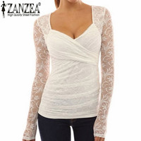 Women Blouses Sexy V Neck Lace Floral Blusas Long Sleeve Slim Stretchy Casual Blouse Shirt Plus Size Tops