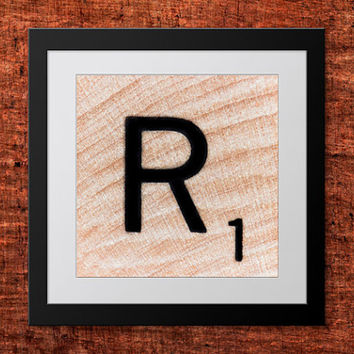 DIY Wall Art, Letter R-Personalized Word Art, Instant Download, Printable Letter, Scrabble Wall Art, Alphabet Art, Downloadable Image, Print