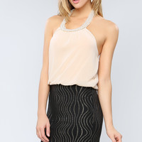 Pearl Neck Point Dress