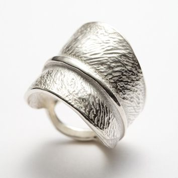 Textured Silver Leaf Ring Size 6 7 8 9 Central Park Re Redsofa