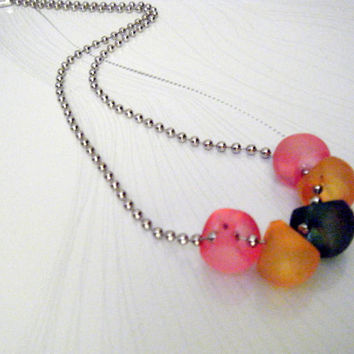 Necklace Silver Plated Ball and Chain with Multicolored Frosted Glass Beads
