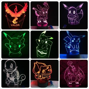New 2018 Pokemon Go Modern 3D Color Changing LED Night Light Lamp w/ Remote Pikachu Pokeball Eevee Squirtle Bulbasaur Charmander - Free Shipping