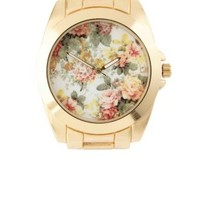 Gold Oversized Floral-Faced Boyfriend Watch by Charlotte Russe