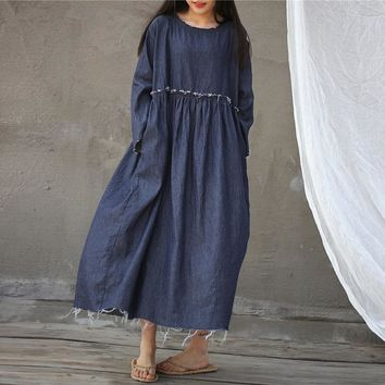 Frayed Raw Seam Patched High Waist Cotton Denim Dress