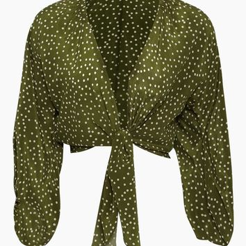 Silk Crepe De Chine Voluminous Sleeves Shirt - Mille Punti Green Dot Print
