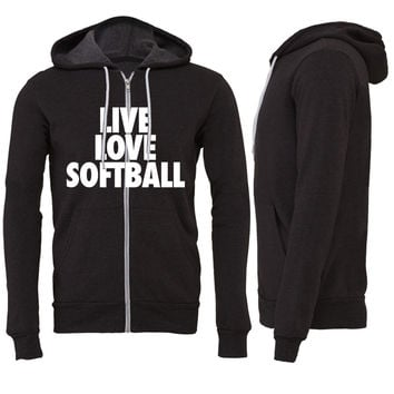 Live Love Softball Zipper Hoodie
