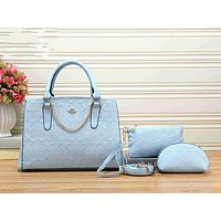 COACH Popular Ladies Metal Logo Leather Shoulder Bag Handbag Tote Clutch Bag Cosmetic Bag Set Three-Piece Blue I-KSPJ-BBDL
