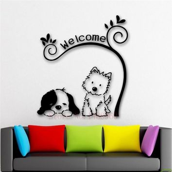 ZN Cute Animal Welcome Dog cat Mural Pet shop  wallpaper DIY wall decals Wall Stickers Vinyl Art Home decor for kids roomKawaii Pokemon go  AT_89_9