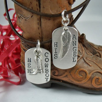His and Her Stamped Silver Necklace Set - Her Cowboy His Angel Sterling Silver