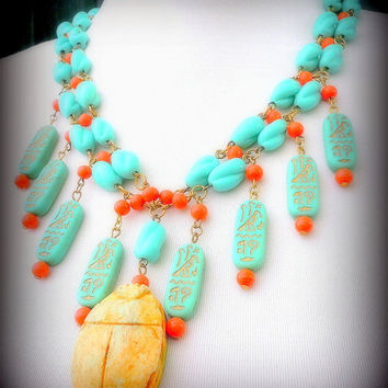 Egyptian Revival Scarab Necklace With Vintage Turquoise & Coral Glass Beads