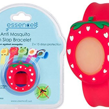 All Natural Mosquito Repellent Cartoon Slap Bracelet For Kids, Best Safe Bug & Insect Repellents By Essencell - DEET FREE, Waterproof, No Spray +2x Refills - Protection up to 30 days- Red Straw Berry
