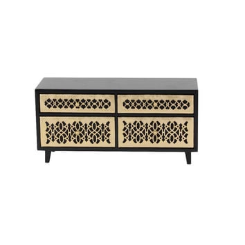 Emily Golden And Black Wood Jewelry Chest