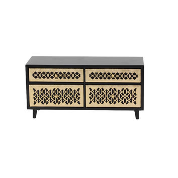 Benzara Emily Golden And Black Wood Jewelry Chest
