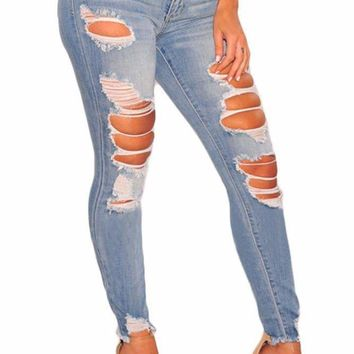 Women's Light Destroyed Frayed Ankle Skinny Jeans