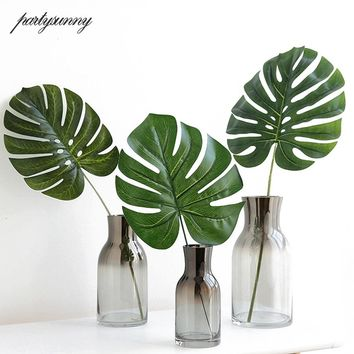 10 PCS Large Green Artificial Fake Monstera Palm Tree Leaves Para Decoration Mariage DIY Cheap Flowers Arrangement Party Decor