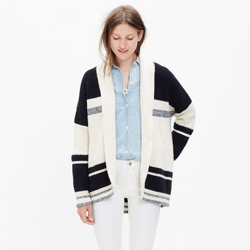 Striped Cocoon Cardigan Sweater