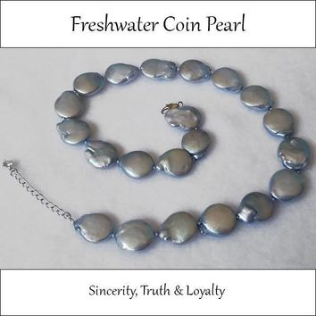 Baby Blue Flat Coin Freshwater Pearl Necklace