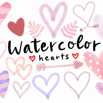WATERCOLOR HEART CLIPART, valentines clipart, heart clipart, cute, valentine, hearts, png, high def,