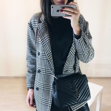 Houndstooth Black & White Double Breasted Blazer Jacket