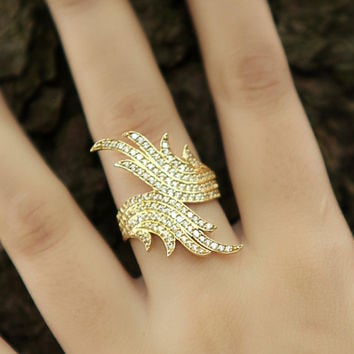 Wings Ring -Ring with Pave Diamonds - Diamond Wedding Band - 925 Sterling Silver over 14K Gold Filled