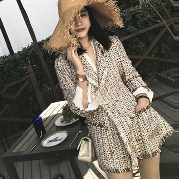 Trendy Tweed jacket double-breasted 2018 autumn / winter women's jacket Slim in the long suit small incense jacket AT_94_13