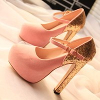 Pink  Gold Platform Princess Heels Shoes