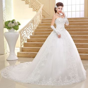 Luxury Long train with Crystal Bow Designer Wedding gowns Princess