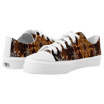 Golden Snowflakes Kaleidoscope Printed Shoes