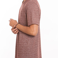 French Terry Long Split Hem Tall Tee Burgundy