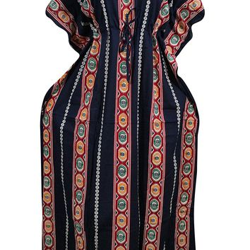 Women's Bohemian Kaftan Dress Black Printed Kimono House Dresses XL