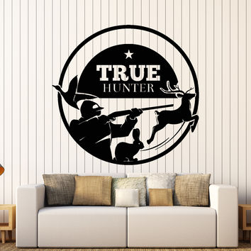 Wall Vinyl Decal Hunting True Wild Hunter Deer Rabbit Home Interior Decor Unique Gift z4430