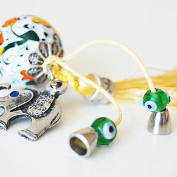 Elephant Key Chain Handmade Evil Eye and Turkish Ceramic Silver Plated