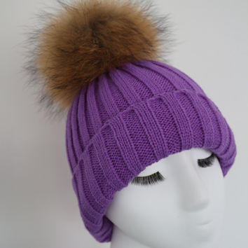 Lilac Raccoon Fur Pom Pom Hat
