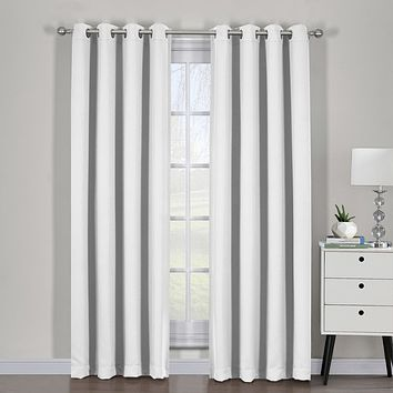 Greyish White Ava Blackout Weave Curtain Panels With Tie Backs Pair (Two Panels )