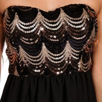 BlackGold Strapless Sequin Short Dress