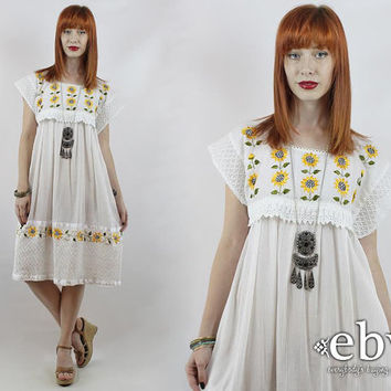 Vintage 70s White Cotton Gauze Sunflower Dress S M L Sunflowers Dress Hippie Dress Hippy Dress Boho Dress White Dress Summer Dress