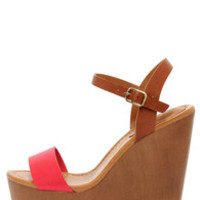 Emily 34 Pomegranate Red and Tan Platform Wedge Sandals