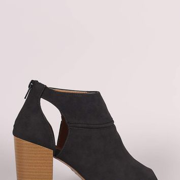 Qupid Suede Peep Toe Cutout Stacked Chunky Heeled Booties