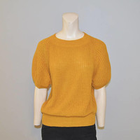 Vintage 1980's Shot Sleeve Mustard Yellow Sweater Top Knit Shirt Size Small Thick Chunky Knit Sweater Chaus Relaxed Fit Fall Pullover